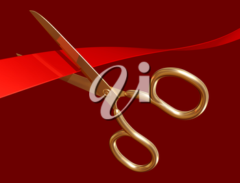 Royalty Free Clipart Image of Scissors Cutting a Ribbon