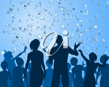 Royalty Free Clipart Image of People Celebrating with Confetti in the Shape of Stars