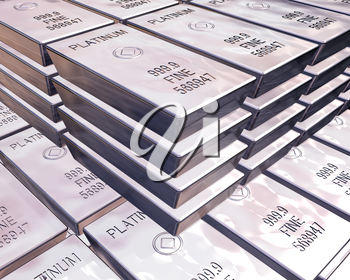 Royalty Free Clipart Image of Platinum Money Bars