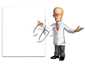 Royalty Free Clipart Image of a Cartoon Professor Pointing to a Blank Sign