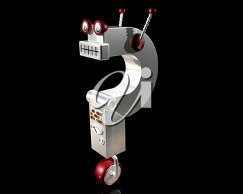 Royalty Free Clipart Image of a Robot in the Shape of a Question Mark