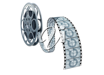 Royalty Free Clipart Image of a Movie Reel and Film
