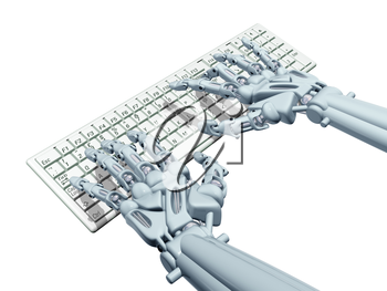 Royalty Free Clipart Image of Robot Hands Typing on a Computer Keyboard