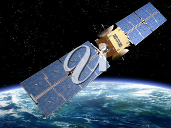 Royalty Free Clipart Image of a Satellite Orbiting the Earth