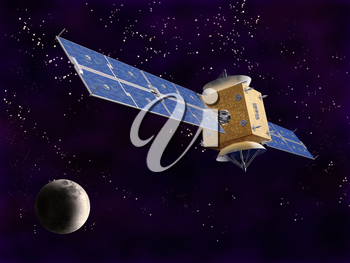 Royalty Free Clipart Image of a Satellite in Space