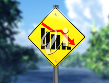 Royalty Free Clipart Image of a chart on a Signpost Showing a Downward Trend