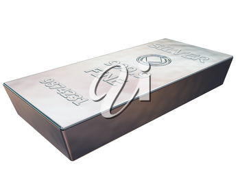 Royalty Free Clipart Image of a pure silver ingot