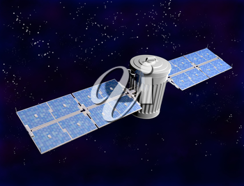Royalty Free Clipart Image of a Satellite Trash Can in Space