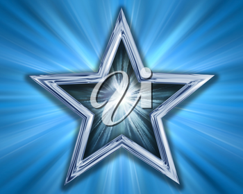 Royalty Free Clipart Image of a Silver Blue Star on a Blue Background