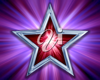 Royalty Free Clipart Image of a Red and Silver Star on a Purple Background