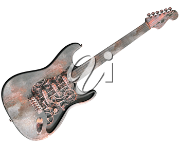 Royalty Free Clipart Image of an Isolated Dirty Grungy Steam Punk Guitar