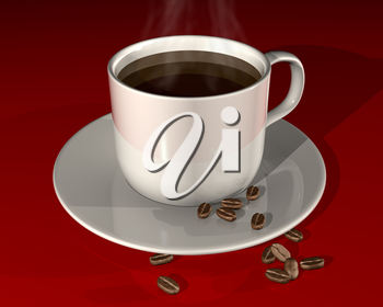Royalty Free Clipart Image of a cup of Steaming Hot Coffee and Some Coffee Beans on a Shiny Red Surface