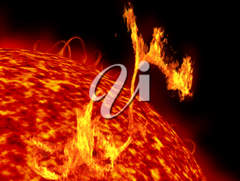 Royalty Free Clipart Image of the Sun Showing Formidable Solar Flares