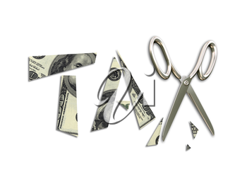 Isolated illustration of pieces of a banknote and scissors illustrating tax cuts
