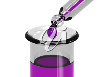 Illustration of a pipette dripping a colored chemical into a test tube