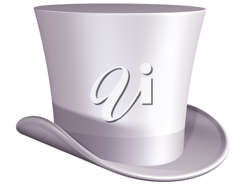 Isolated illustration of a white top hat