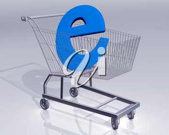 Illustration of a shopping cart with a large E symbol representing ecommerce