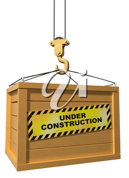Isolated illustration of a construction crane lifting a crate