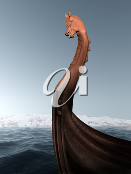 Illustration of an ancient wooden figurehead on a Viking longboat