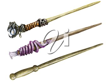 Illustration of three magical wands isolated on white