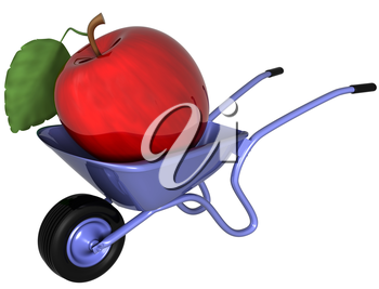 Isolated illustration of a giant apple sitting in a wheelbarrow