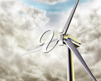 Illustration of a wind turbine in dramatic weather