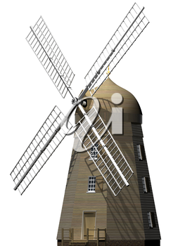 Isolated illustration of a traditional wooden windmill