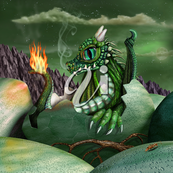 Cute baby fire breathing dragon hatching from a green egg at night