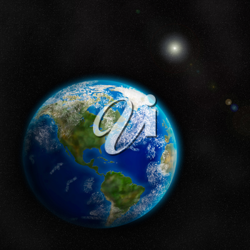 Royalty Free Clipart Image of the Earth From Space