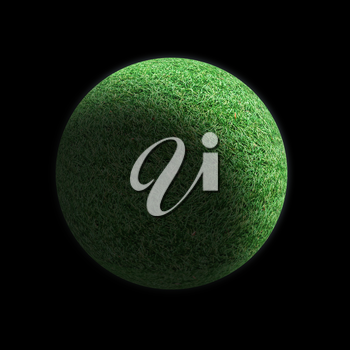 Realistic Planet of grass isolated on black background.