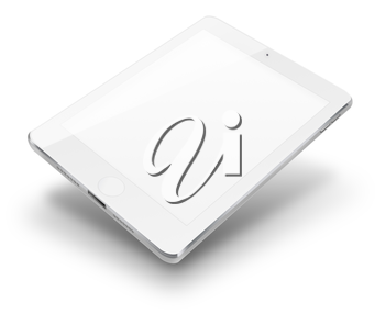Tablet computer with blank screen isolated on white background. Highly detailed illustration.