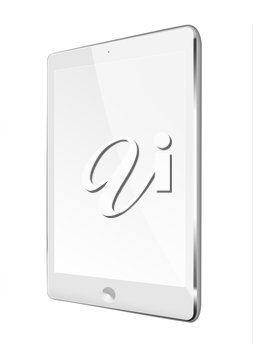 Realistic tablet computer with black screen isolated on white background. Highly detailed illustration.