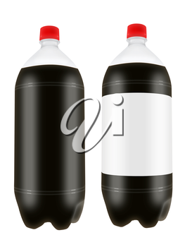 Refreshing cola drink in two liter plastic bottles isolated on white background. Highly detailed illustration.