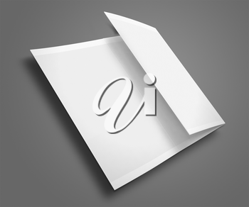 Blank trifold brochure / zigzag folded flyer on gray background with shadows. Highly detailed illustration.