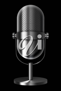 Vintage metal silver microphone on black background. Highly detailed illustration.