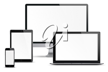 Computer monitor, mobile phone, smartphone, laptop and tablet pc with blank screen isolated on white background. Highly detailed illustration.