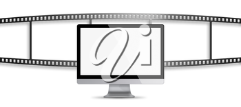 Modern flat screen computer monitor with blank screen and roll of film with place for your images isolated on white background. Highly detailed illustration.
