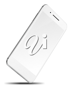 Mobile smart phone with blank screen isolated on white background. Highly detailed illustration.