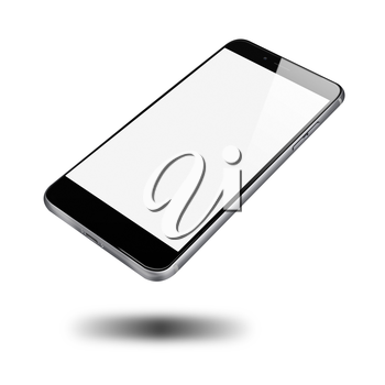 Modern mobile phone with blank screen isolated on white background. Highly detailed illustration.
