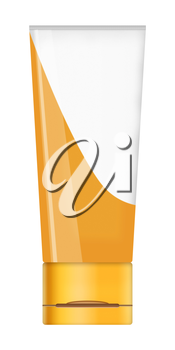 White tube mock up for cream, lotion, paste, gel, sauce, paint isolated on white background. Highly detailed illustration.