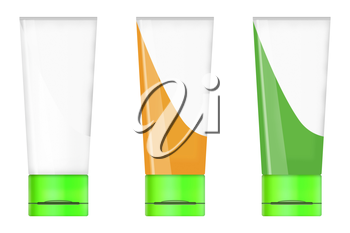Set of tube mock up for cream, lotion, paste, gel, sauce, paint isolated on white background. Highly detailed illustration.