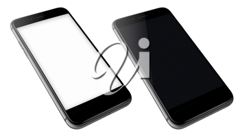 Realistic mobile phones with blank and black screens isolated on white background. Highly detailed illustration.