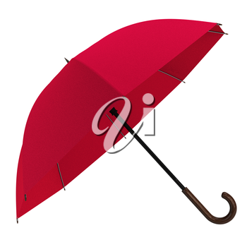 Open red umbrella isolated on white background. Highly detailed render.