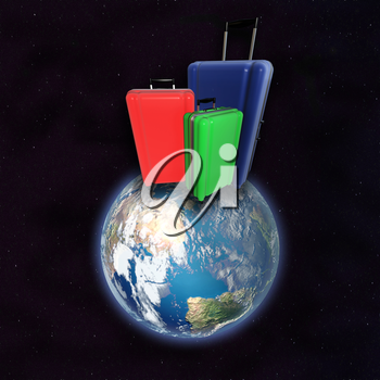 Large family polycarbonate luggages on surface of planet Earth. View from space. 3D rendering. Elements of this image furnished by NASA.