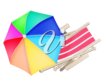 Wooden beach deck chair and colourful umbrella isolated on white background. 3D illustration.