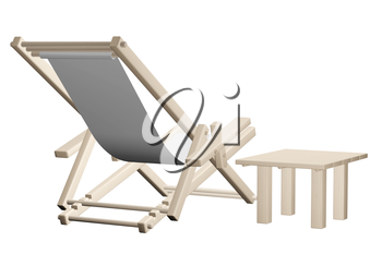 Wooden beach deck chair with grey fabric and table isolated on white background. 3d rendering.