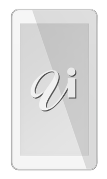 Smart phone with white screen isolated on white background. 3D illustration.