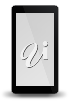 Smart phone with black and white screen isolated on white background. 3D illustration.
