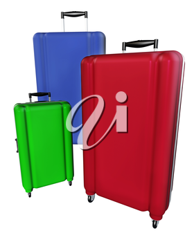 Large family polycarbonate luggages isolated on white background. 3D rendering.