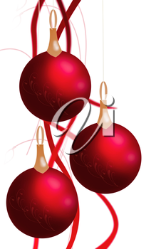 Christmas balls hanging with tapes isolated on white background. 3d illustration.